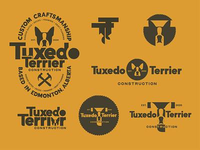 Tuxedo Terrier Construction icon vector typography design social icons identity branding identitydesign logo mockups illustration. logo logo design branding
