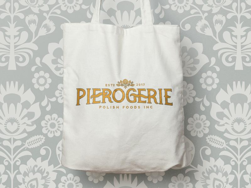 Pierogerie Polish Foods Inc design logo illustration. branding logo design