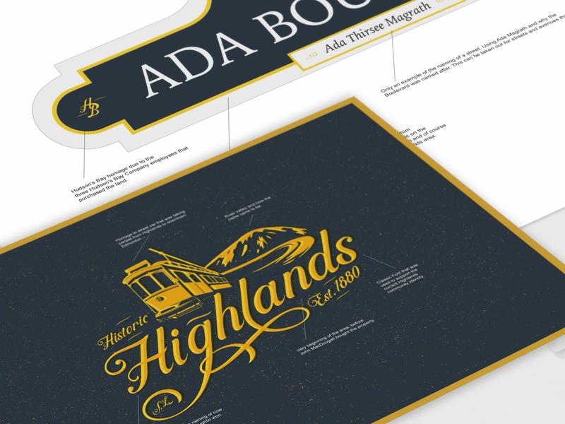 Highlands Community Sign Blade signage sign mockup signage design illustration. logo logo design branding