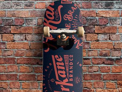 Arkane Skateboard Deck print and pattern design illustration. logo logo design branding packaging design