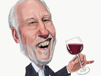 Gregg Popovich Loves Wine portrait drawing painting caricature illustration