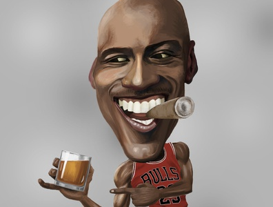 Jordan Loves Whiskey and Cigars caricature illustration espn chicago bulls nba