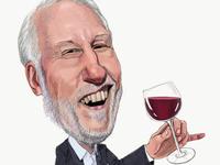 Gregg Popovich is a wine connoisseur painting caricature illustration espn san antonio spurs nba