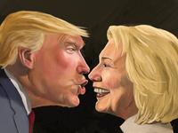 Trump and Hillary Staredown