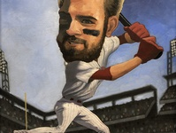 Bryce Harper—Hit or Miss? mlb baseball bryce harper caricature oil paint illustration