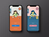 Food Delivery Login food delivery app girl login screen design login screen character illustration ui design