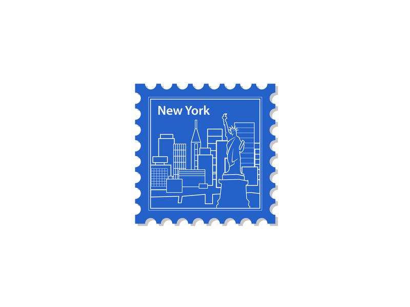 New York stamp illustration weekly warm-up branding weekly challenge vector design