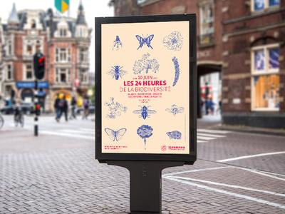Les 24h de la biodiversité typography illustration rennes biodiversity poster environment plaquette affiche