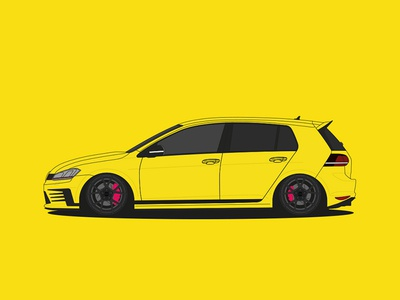 Golf 7 GTI Clubsport Design cardesign carwrapping wrapping ugly tuning rotiform illustration gti clubsport golf volkswagen duckling