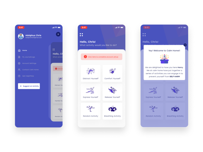 Calm Home mobile design ui ux navbar home screen