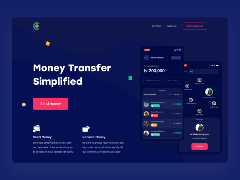 Money Transfer Landing Page product design homepage fintech finance transfer payment website webdesign banking web ux ui landing page product page app
