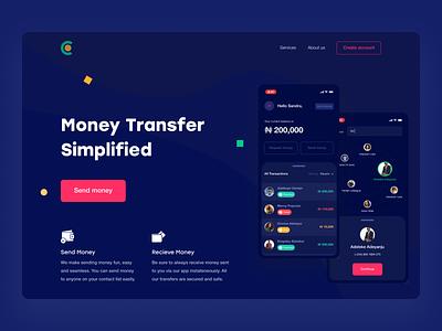 Money Transfer Landing Page product design homepage fintech finance transfer payment website webdesign banking web ux ui landing page product page app