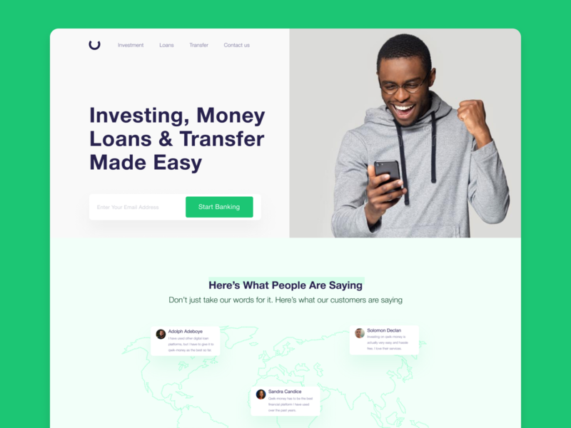 Digital Bank: Qwik-Money uiux website builder transfer landingpage fintech finance banking website banking bankingapp app design app