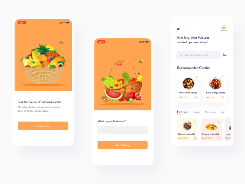 Fruit Salad Vendor popular fruity onboarding authentication minimal food delivery ux uiux ui fruits app design foodapp fruit mobile app