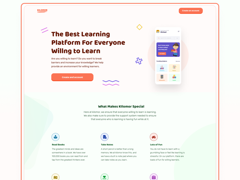 Highschool Learning Platform: Landing Page website webapp study student homepage interface education ux ui landing page app landingpage