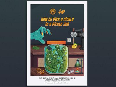 Pulfer x Tap Bullies How to pick a pickle in a pickle jar poster poster chemistry pickle ipa lemon monsterarm monster arm bartender pub bar picklejar pickles hops beer art mockup beer label beer illustration vector