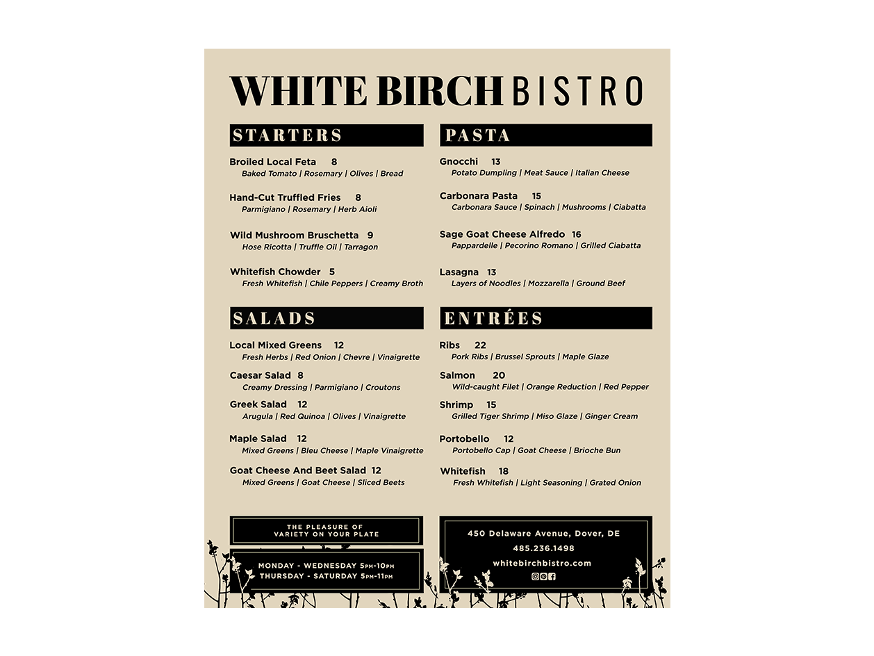 White Birch Bistro Menu by Dinele Stewart on Dribbble