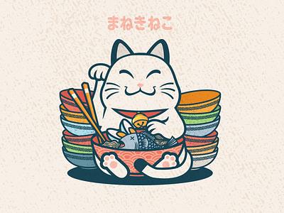 Noodle Maneki neko vector japan maneki neko ramen noodle cat