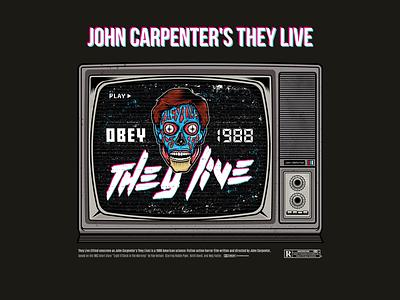 John Carpenter's They Live obey alien horror carpernet movies fan art pop art art poster movie art movie poster movie typography branding teeshirt vector art adobe illustrator vector illustration