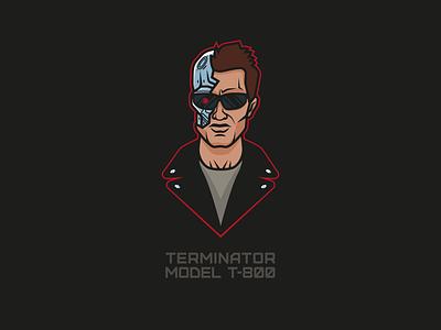 Terminator Model T 800 teeshirt adobe icon vector art illustration illustrator vector character movie t800 terminator