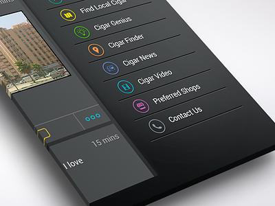 Sidebar Menu app ios7 ios iphone clean menu side dark bar application apple icon