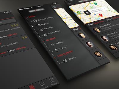 Truck Service App UI app ios7 ios iphone clean menu side dark bar application nav icon