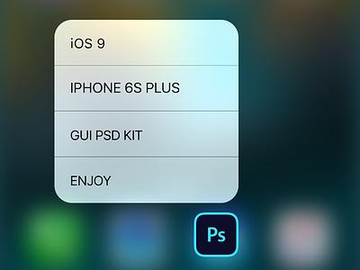 iOS 9 iPhone 6S Plus GUI PSD 3D Touch gui ui ux freebies download ios9 iphone 6s plus free psd vector menu