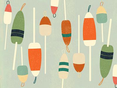 Yeah Buoy sailing ocean vintage pattern buoys illustration