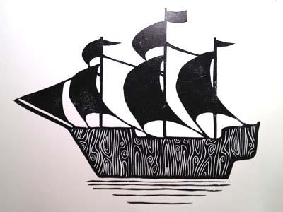 Linocut Ship
