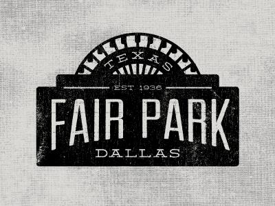 Fair Park badge dallas ferris wheel texture logo
