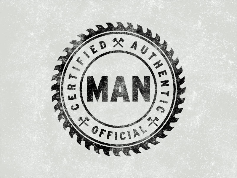 Man man saw badge official logo blade manly masculine certified authentic