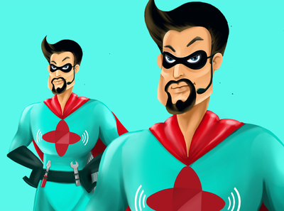 One of the series of characters - superheroes. Heroes among us. illustration boy
