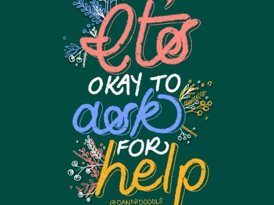 It's okay to ask for help web typography illustration design