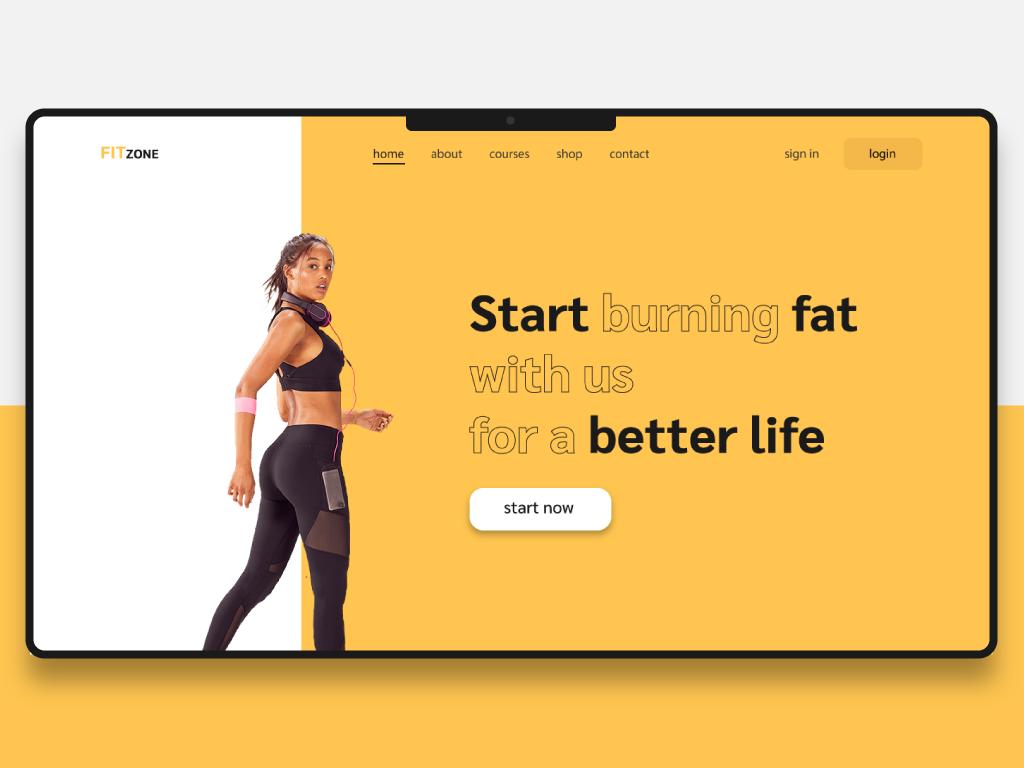 fitness zone branding brand app illustrator website web ux ui illustration design
