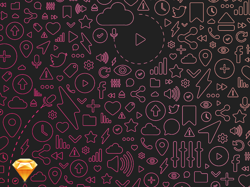 Free Sound Line Icons gift freebie flat icon icons line free giveaway pink sound nicolas fallourd music