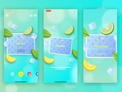 Username Lemonade Card ice summer lemon localisation app 3d bokeh virality card username zenly