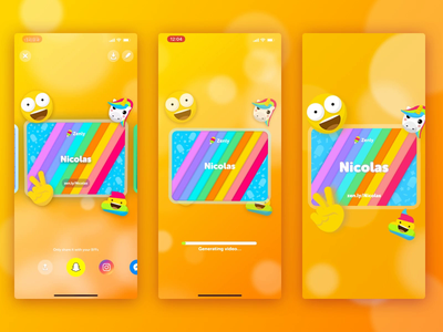 Username Rainbow Card invite rainbow localisation app 3d bokeh virality card username zenly