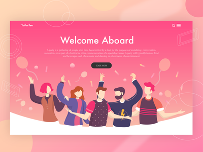 Welcome Party Landing Page Illustration people warm friend hero design hero banner hero homepage landing page welcome colorful social gathering party illustration web vector design flat flat character flat  design