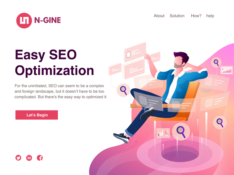N-Gine - Search Engine Optimization in Easy way Illustration relax easy google office internet search optimization hero landing page search engine social communication flat vector web illustration flat  design flat character design