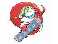 Santa Boarder xmas christmas santaclaus snowboarder