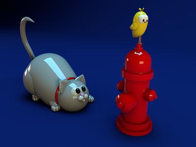 Hunting porcelain colors colorful blue holidays character art design octane illustration bird cat games hunt hero 3d render c4d cinema4d cinema