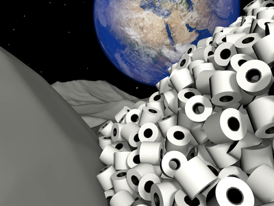 Remote work work paper toiletpaper aftereffects animation sci illustraion octane joke isolation space planet hero character cinema4d c4d render covid19 coronavirus 3d