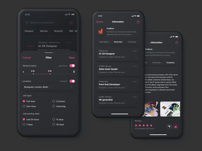 Job App (Dark mode) planning management mobile company booking ui concept clean vacancy dark mode card search job app job list dailyui filter interface dashboad app