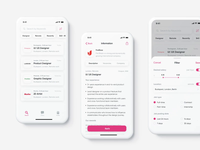 Job App (Black or White) website lists dashboard white filters concept dark mode theme after effects clean card job app job ux ui mobile design app design app motion design animation