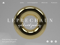Landing page for gold jewelry website web page design web product page web animation interface interaction ecommerce minimalism graphic design design studio after effect hero section landing page jewelry gold ux ui animation c4d website