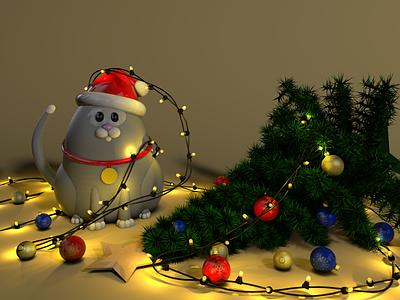 Christmas Eve ui card christmas card colors render cat decoration lights christmas tree mood tree new year characterdesign character christmas 3d art 3d octanerender cinema4d c4d