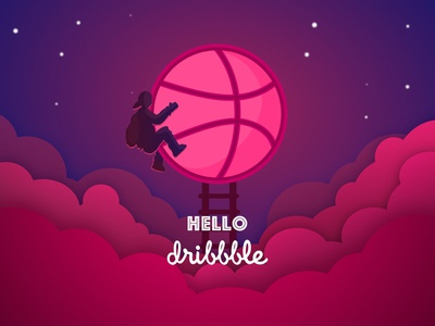 Hello, Dribbble! light sky invites first shot sunset dribbble ball character pink debut clouds illustration hello dribbble