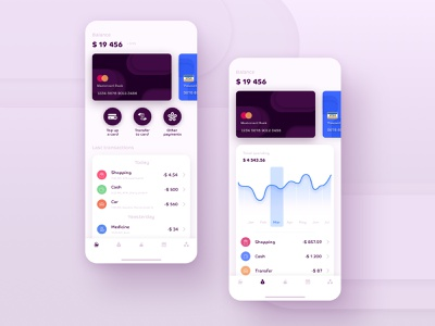 Banking service ui mobile interface finance money application uiux wallet purple service bank credit card statistics stats card app banking app banking