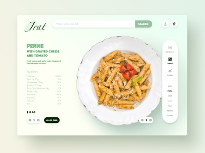 Food Delivery concept card fun web design ux ui concept menu ecommerce dish dashboad cart food web webdesign delivery