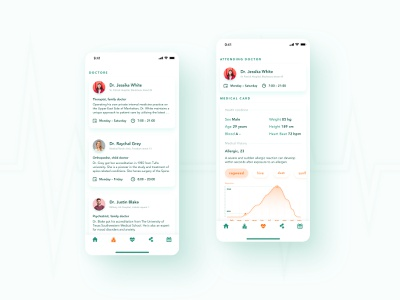 Medical app concept clinic ux card list service mobile patient healthcare curve health doctor graphic ui clean medicine medical